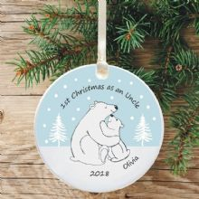 1st Christmas as an Uncle Ceramic Keepsake Decoration - Polar Bear Design